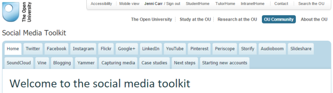 OU social media toolkit: http://www.open.ac.uk/community/social-media-toolkit/